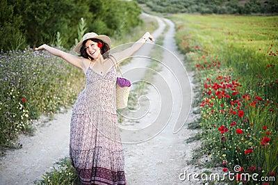 Femme joyeux