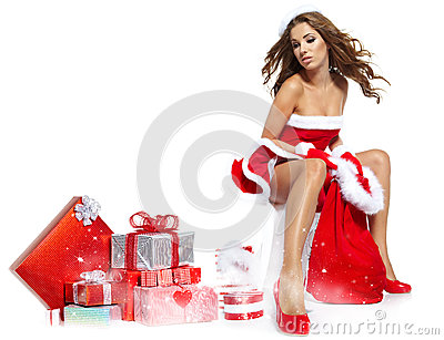 Femme Portant Des Vêtements Du Père Noël Photo stock - Image: 27888480