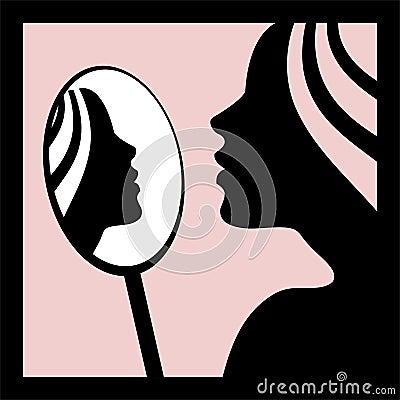 Femme regardant dans le miroir photo libre de droits for Regard dans le miroir