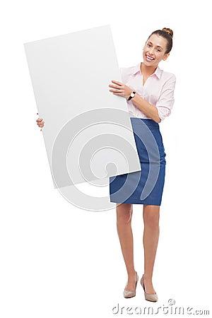 Femme retenant l affiche blanc