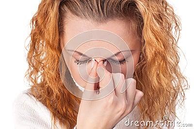Femme souffrant du mal de t?te