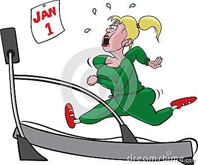 Femme sur le tapis roulant