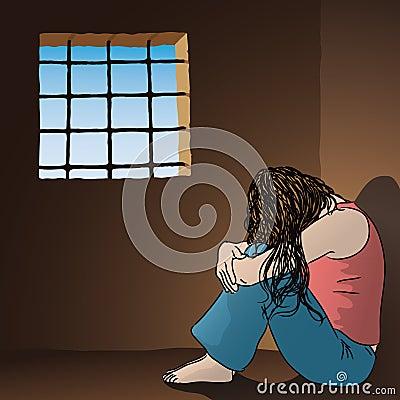 Femme triste en prison