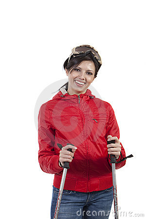 Femmes de Prety avec des pôles et des glaces de ski