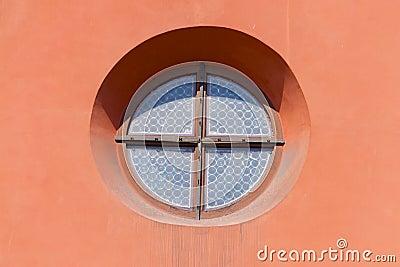Fen tre ronde dans le mur rose photo stock image 57558114 for Fenetre qui rentre dans le mur