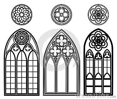 Fen tres gothiques des cath drales illustration de vecteur for Fenetre gothique