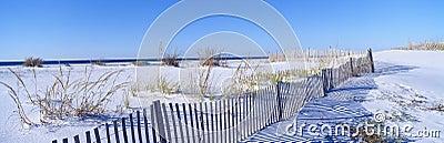 Fence along white sand beach at Santa Rosa Island