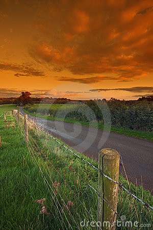 Free Fence Alongside A Country Lane Stock Photo - 16307200