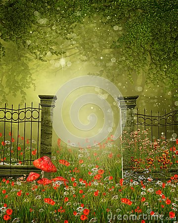 Fence on a colorful meadow