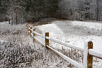 Fence in Winter Snow