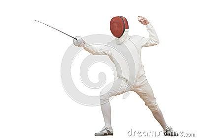 Fencer с фольгой рапиры