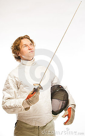 Fencer looking on rapier
