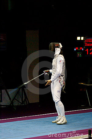 Fencing. Aida Shanaeva appeales to referees Editorial Stock Photo