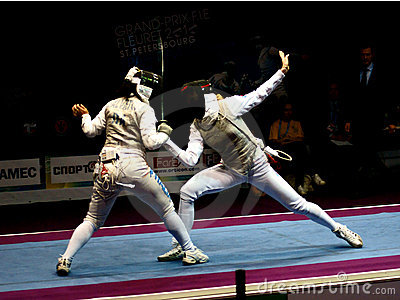 Fencing. grand-prix F.I.E. Fleuret St.Petersburg Editorial Stock Photo