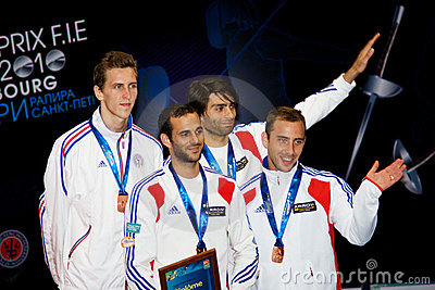 Fencing. World cup 2010. Award ceremony Editorial Image