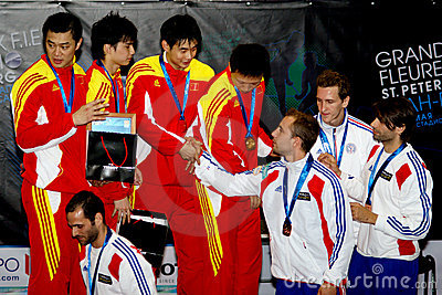 Fencing world cup 2010. Award ceremony Editorial Photography