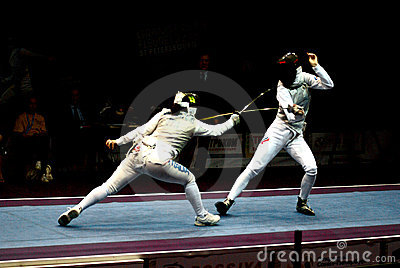 Fencing world cup 2010 Shanaeva vs Eriggo Arianna Editorial Photo