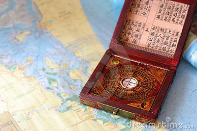Feng shui compass on a nautical chart