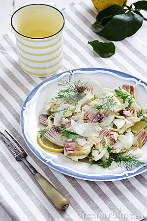 Fennel And Artichoke Salad With Parmesan Cheese. Italian ...