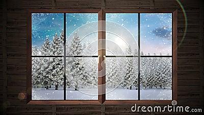 fenster das den schnee f llt auf tannenbaumwald zeigt stock footage video von feiertage. Black Bedroom Furniture Sets. Home Design Ideas