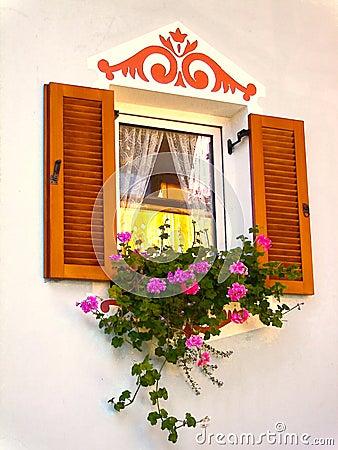 Fenster mit Blumen-Kasten