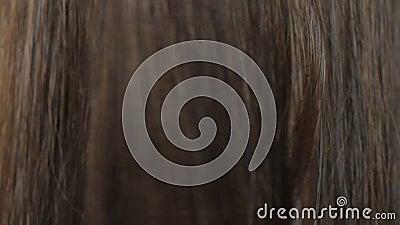 Fermer la belle texture longue et lisse des cheveux bruns droits banque de vidéos