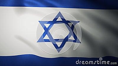 Fermer le drapeau israélien agitant au vent Animation réaliste arrière-plan Indicateur 4K banque de vidéos