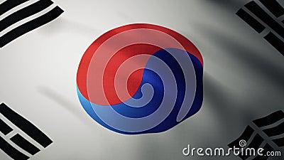 Fermeture du drapeau sud-coréen agitant au vent Animation réaliste arrière-plan Indicateur 4K banque de vidéos