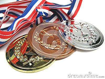 Fermez les médailles vers le haut