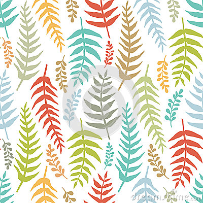 Fern colorful seamless background