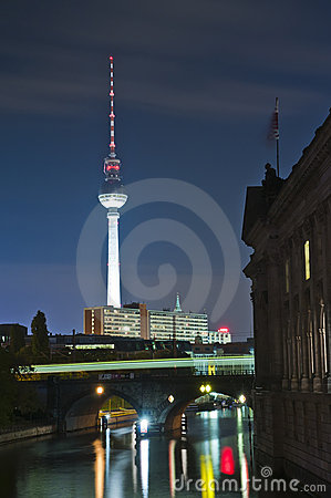 Fernsehturm in Berlin at night Editorial Stock Image