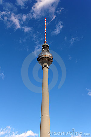The Fernsehturm Tower of Berlin before a Blue Sky
