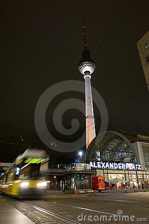 Fernsehturm and tram at alexanderplatz