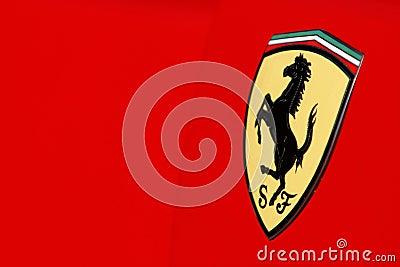 Ferrari logo on red sport car Editorial Stock Image
