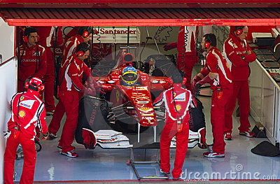 Ferrari in the pit Editorial Stock Image