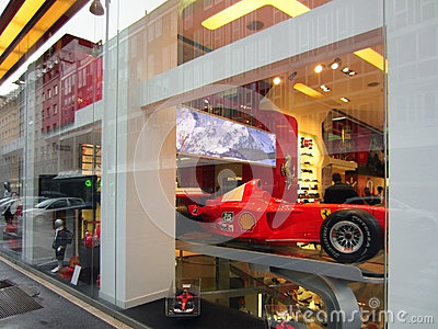 Ferrari Store in Milan Editorial Photo