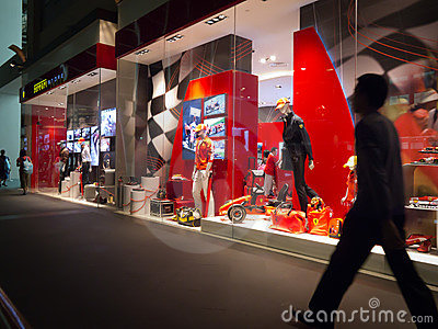 Ferrari store window display Editorial Stock Photo