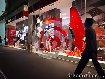 Ferrari store window display Editorial Stock Photo