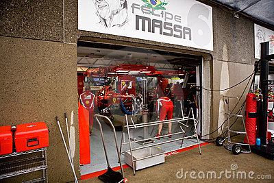 Ferrari Team Preparing Felipe Massa's car Editorial Stock Photo