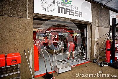 Ferrari Team Preparing Felipe Massa's car Editorial Stock Photo