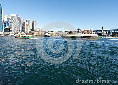 Ferries approaching the Quay Editorial Stock Image