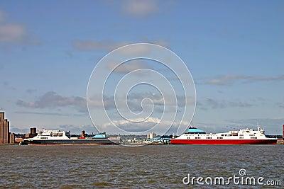 Ferries on river Mersey