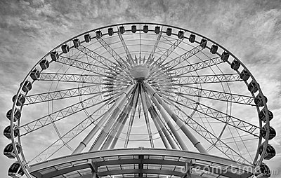 Ferris Wheel in Black and White