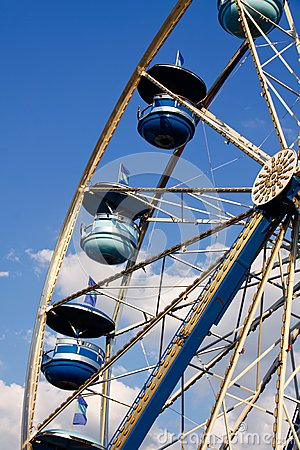 Ferris Wheel Blue Cars, Blue Sky White Clouds