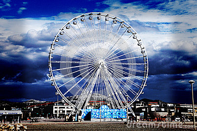 Ferris wheel on a blue sky Editorial Photo
