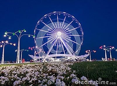 Ferris wheel on boulevard .