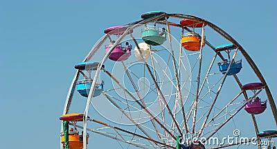 Ferris wheel ride, with clear blue sky