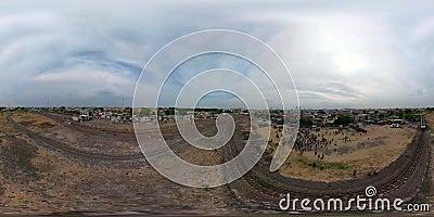 Ferrocarril en Surabaya Indonesia vr360 almacen de metraje de vídeo