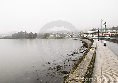 Ferrol estuary in a rainy day