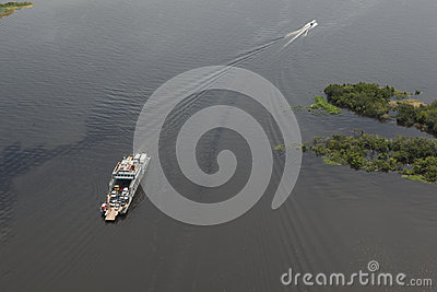 Ferry on the Amazon seen from plane
